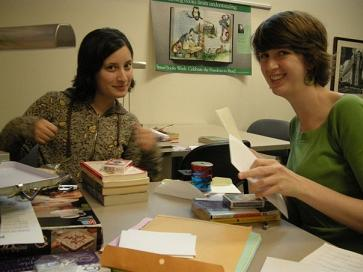 Sara and Erin preparing prizes